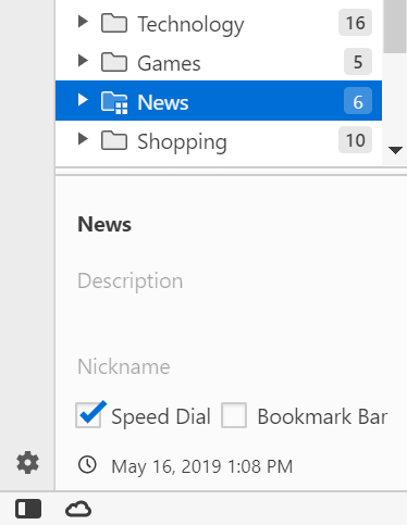 Bookmarks bar and speed dial settings in Panel