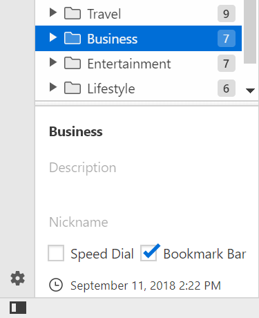 Bookmarks Bar and Speed Dial settings in the Panel