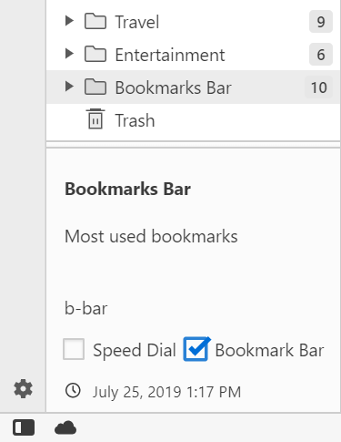 Setting a folder for the Bookmarks Bar in the Panel