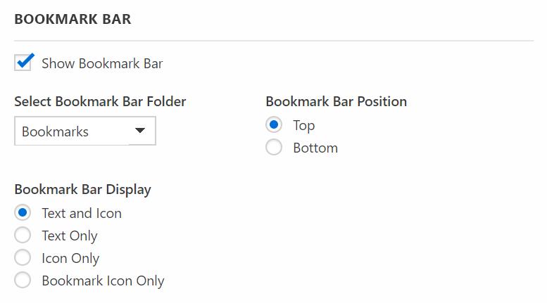 Bookmark bar settings
