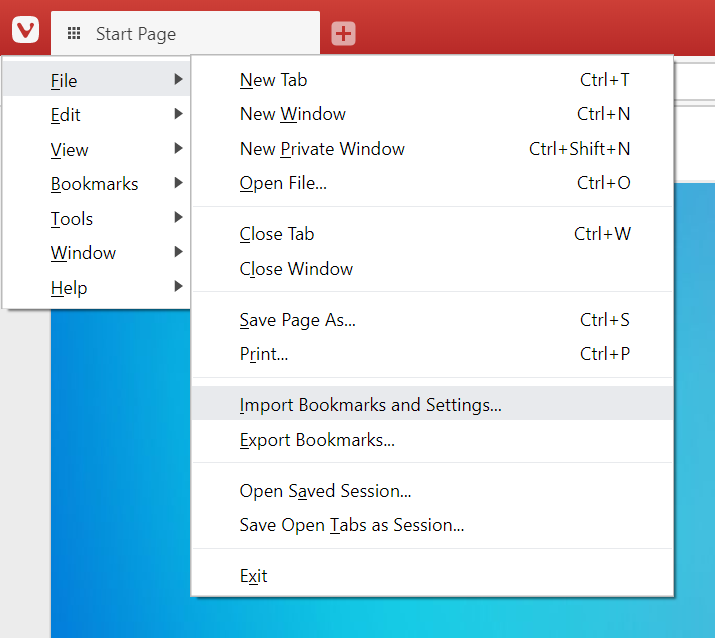 Bookmark import and export options in the menu