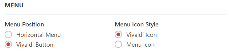 Vivaldi main menu settings