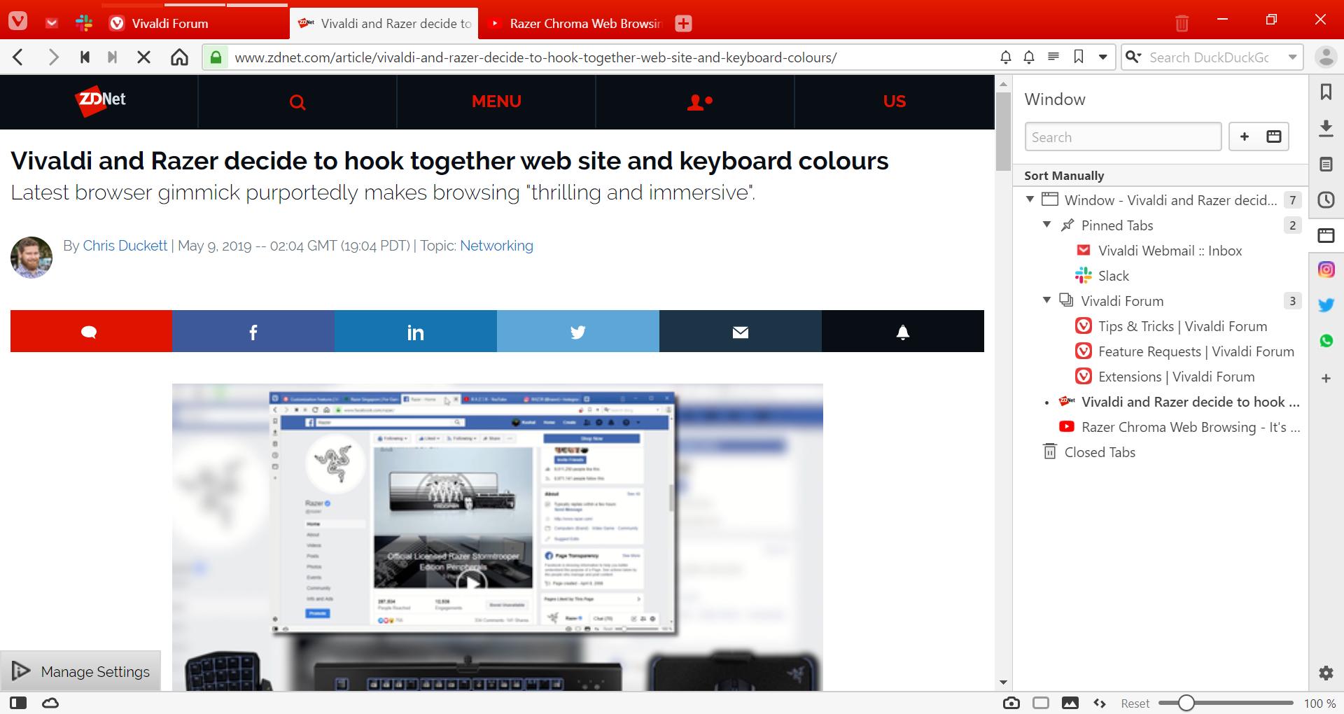 Panelen aan de rechterkant van het browservenster
