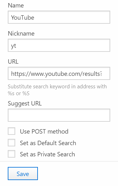Add search engine in Settings