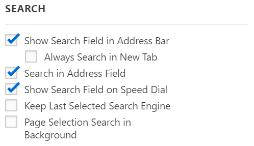Search settings