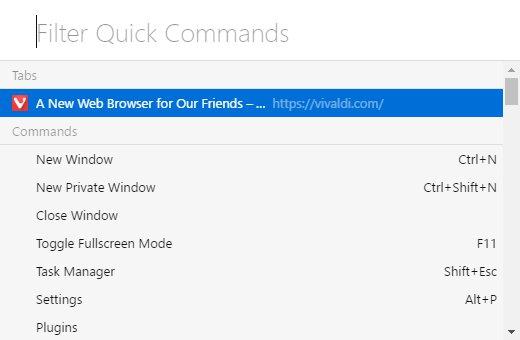 Quick Commands Menu in Vivaldi browser