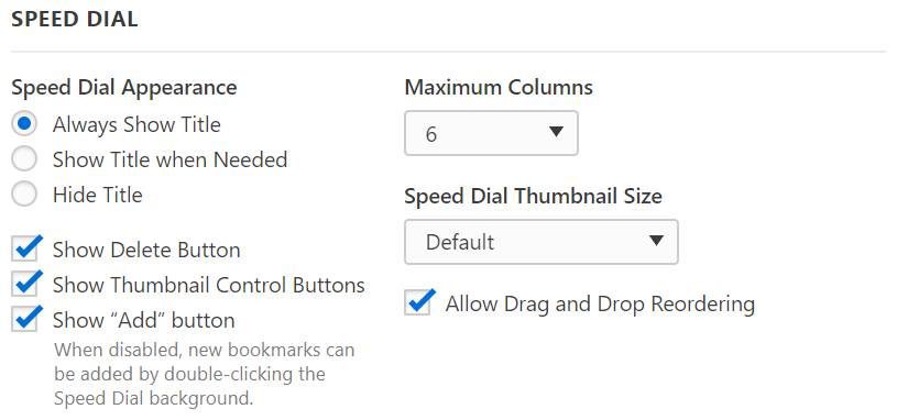 Speed Dial settings