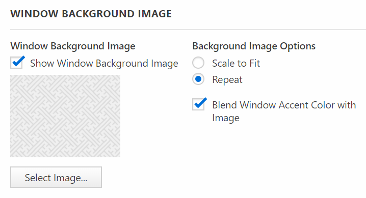 Window Background Image settings