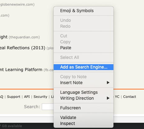 Screenshot Vivaldi browser - Add as search engine - Step 1