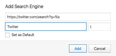 Add a custom search engine in Vivaldi