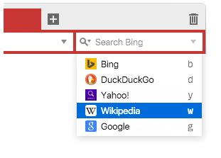 Select search engines in search field