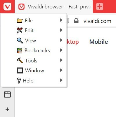 Vivaldi button menu with icons in command names