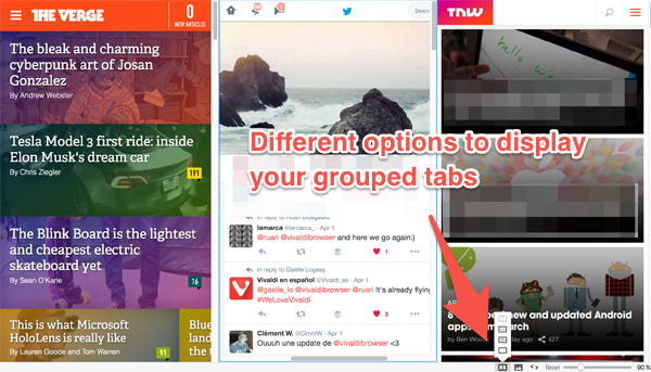Display options for your grouped tabs
