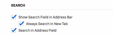 Settings for searching in a new tab.