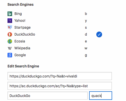 Settings for changing the search engine nickname in Vivaldi