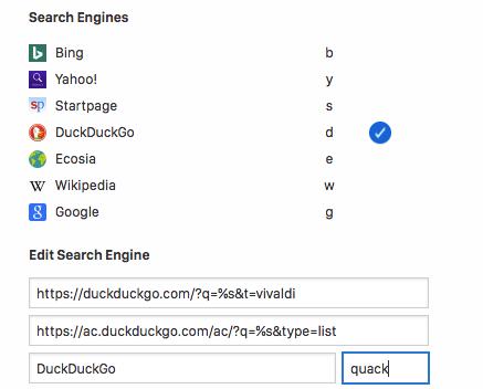 how to set default search engine vivaldi