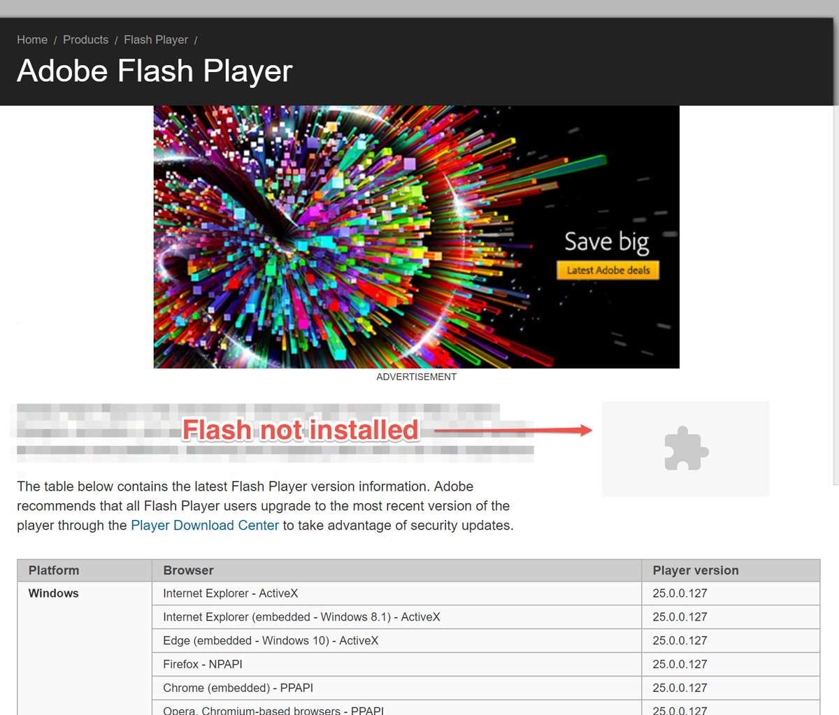 Example of Flash not being installed