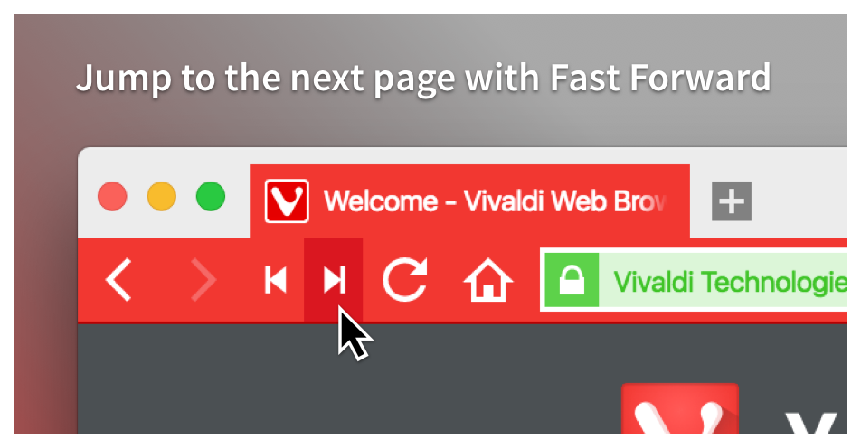 Jump to the next page with Vivaldi's Fast Forward feature