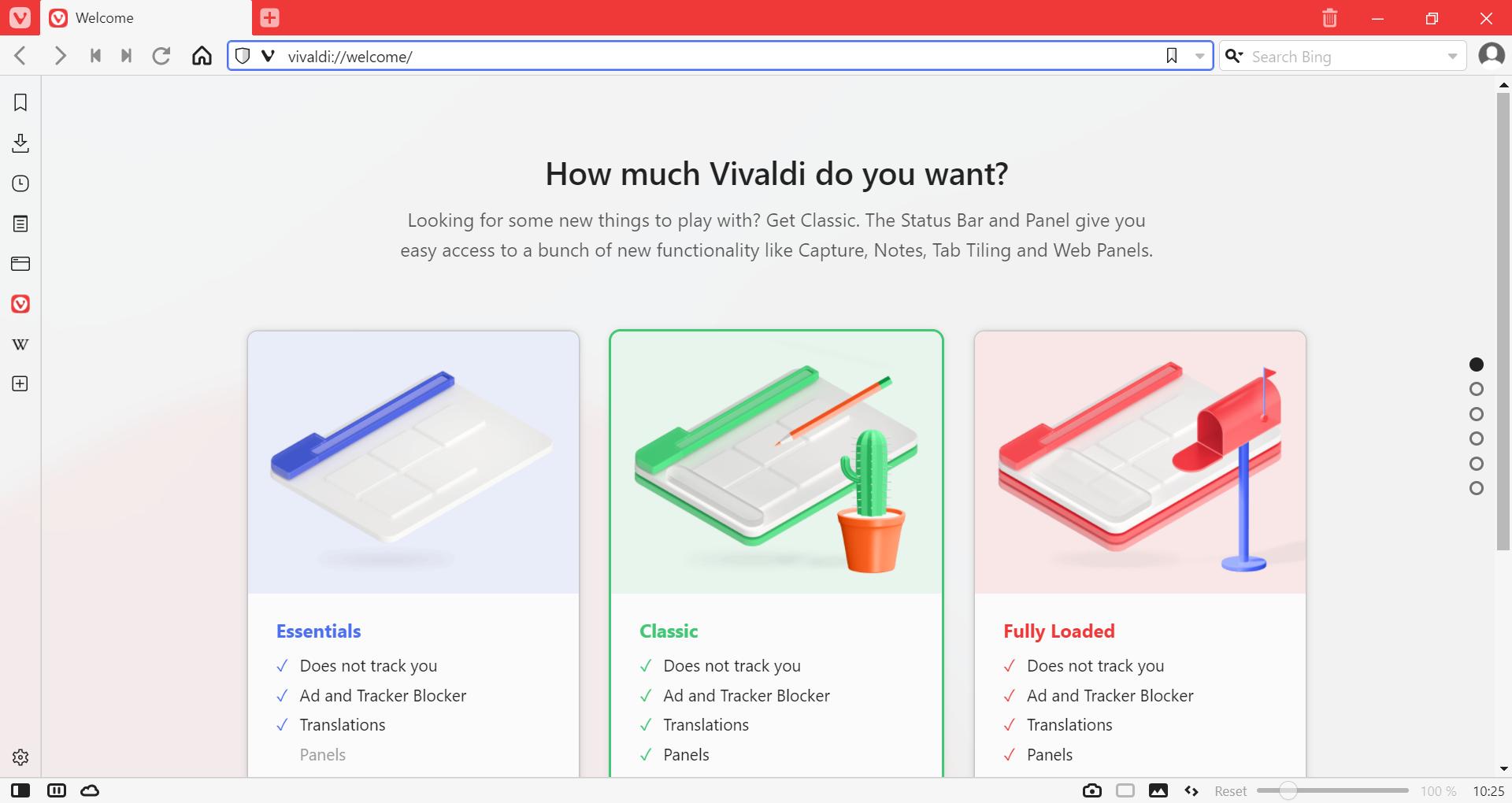 Vivaldi прегледач са страницом добродошлице отвореној у картици
