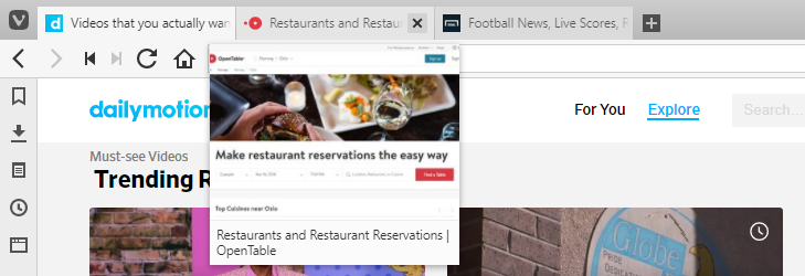 Tab Preview image on hover
