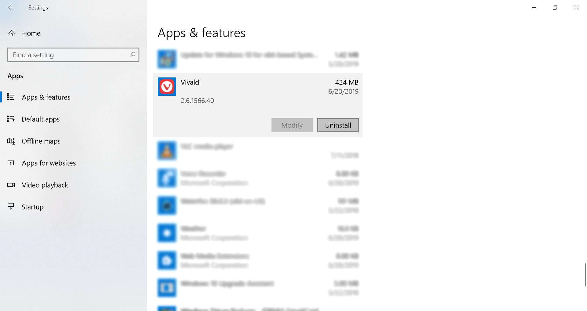Uninstall V on Windows 10's new UI