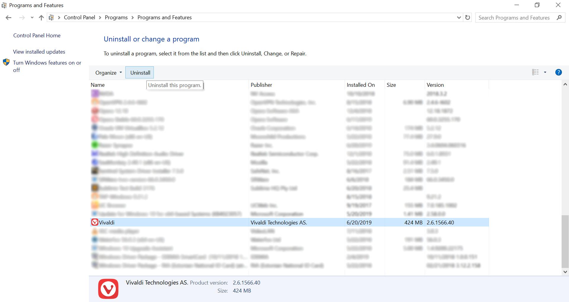 Uninstall Vivaldi on Windows 10's old UI