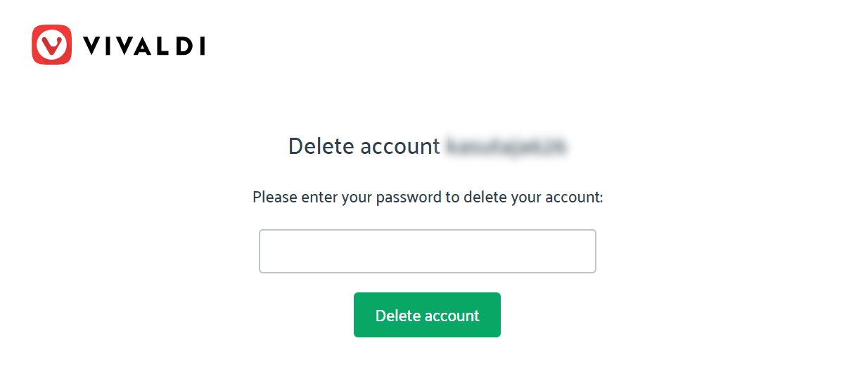 Confirm account deletion by entering the password