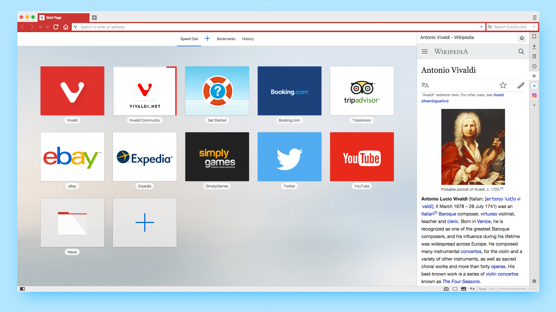Panel displaying on the right side of Vivaldi window