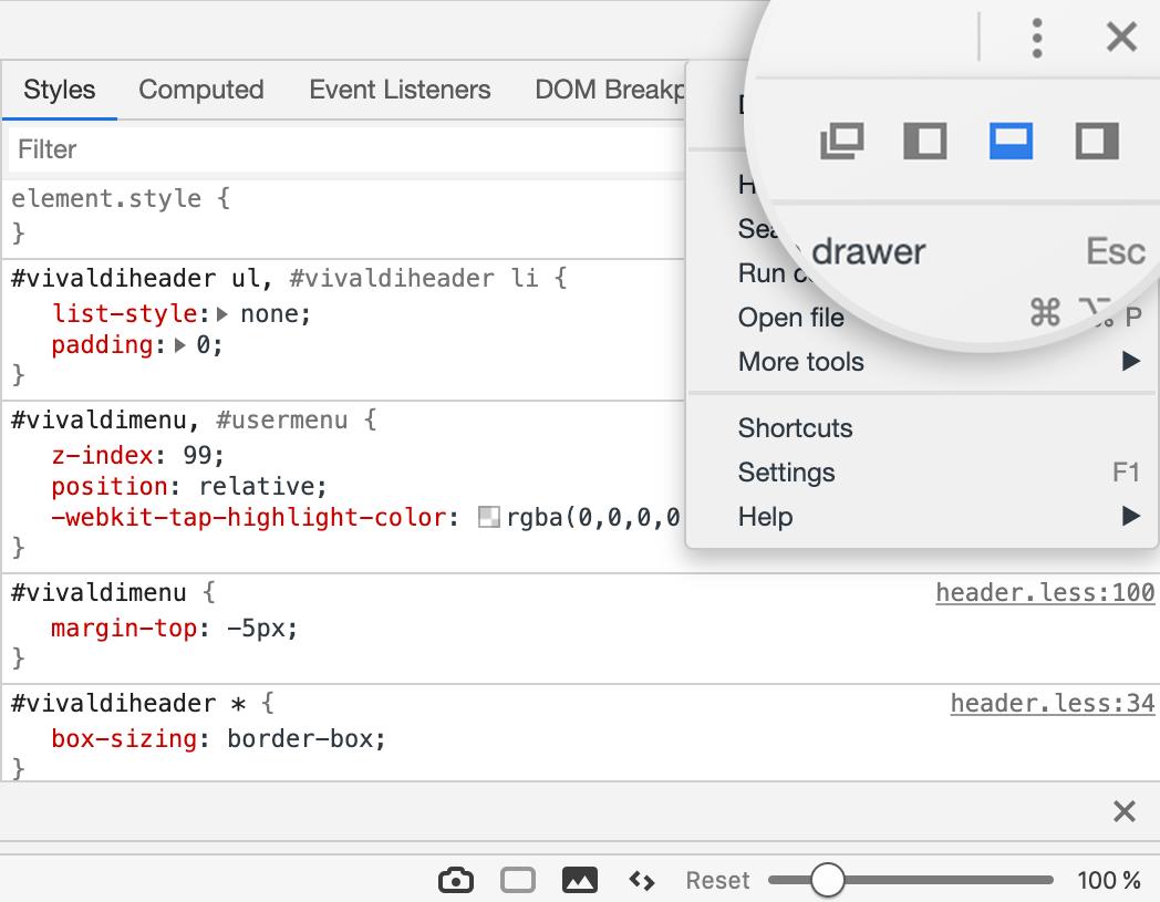 Developer tools | Vivaldi Browser Help