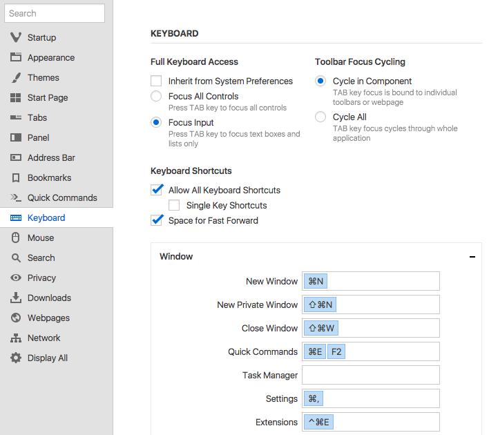 Opciones de Atajos de teclado