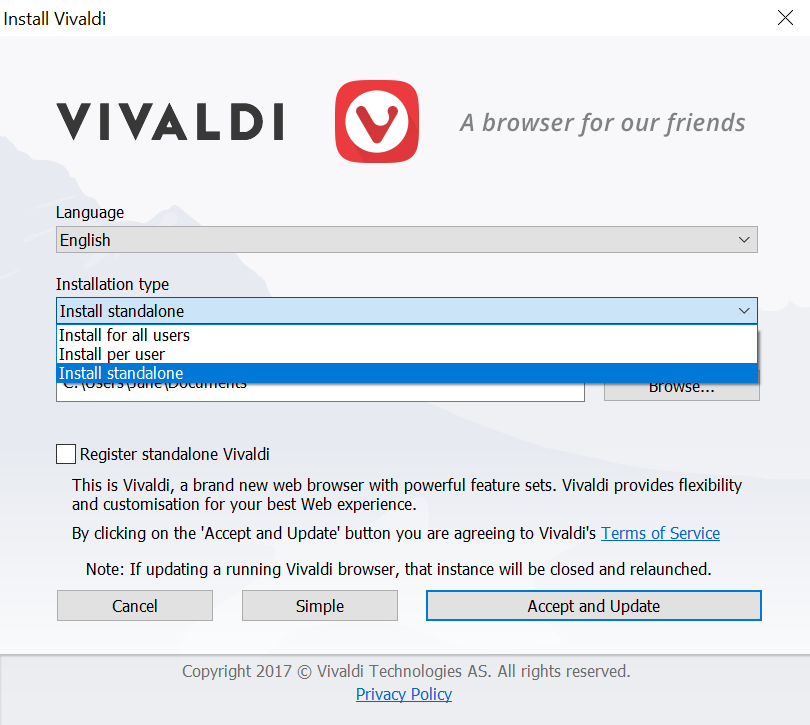 Vivaldi installer window