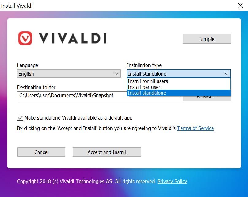 using a standalone version of vivaldi vivaldi browser help