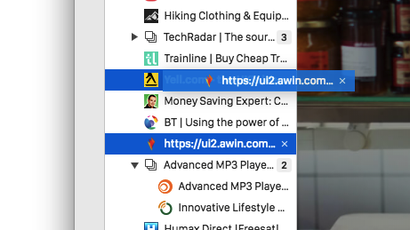 Window Panel in the Vivaldi browser