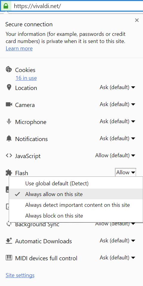 Enabling Flash in Vivaldi | Vivaldi Browser Help