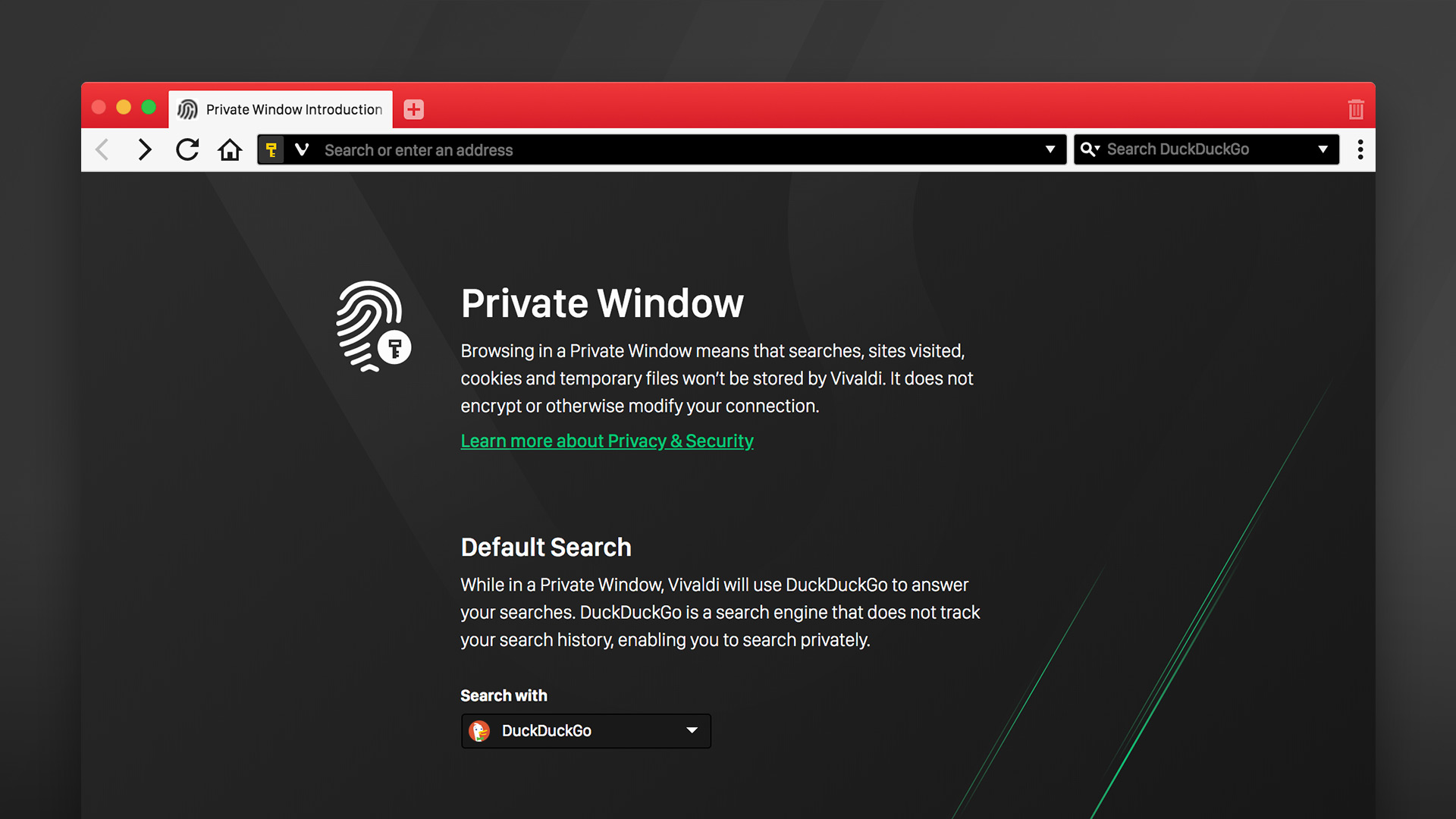 Private browsing in Vivaldi