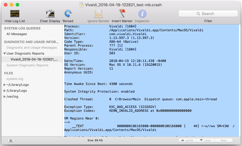 Example of a crash log on Mac