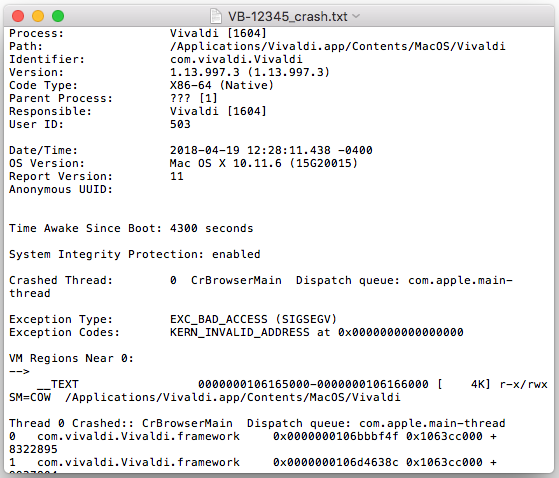 Example of saving a crash log on Mac