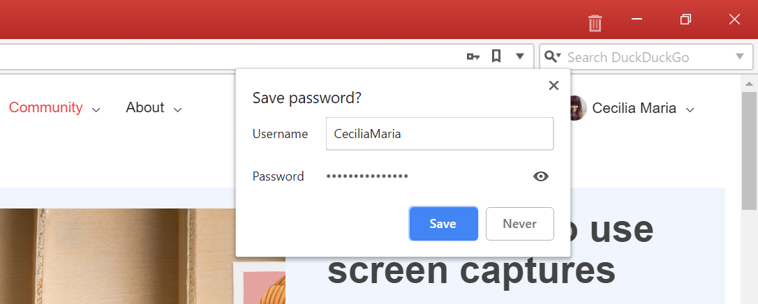 Save password prompt