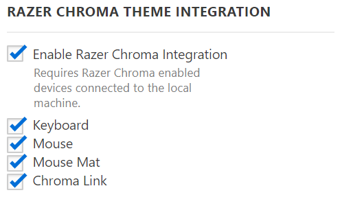 Razer Chroma Settings