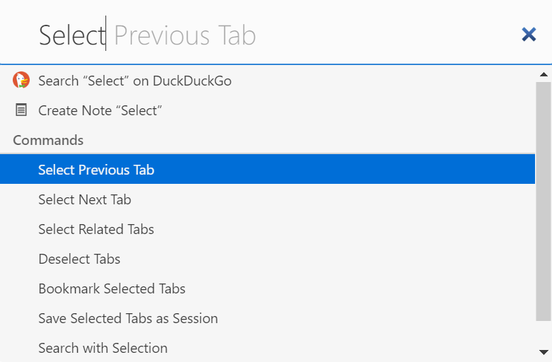Selecting tabs with Quick Commands
