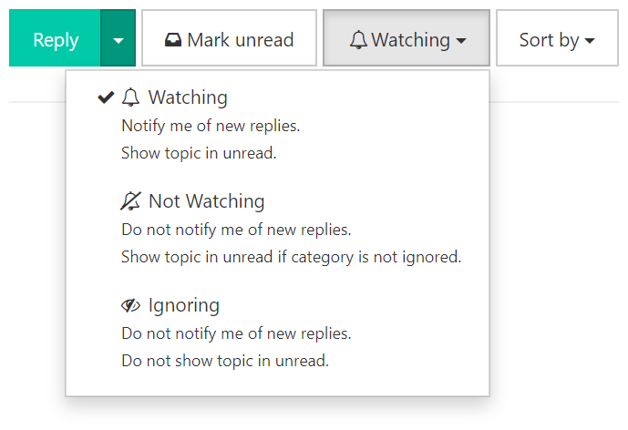 Menu for watching and ignoring topics