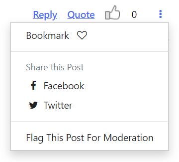 Bookmark or Flag a forum post menu