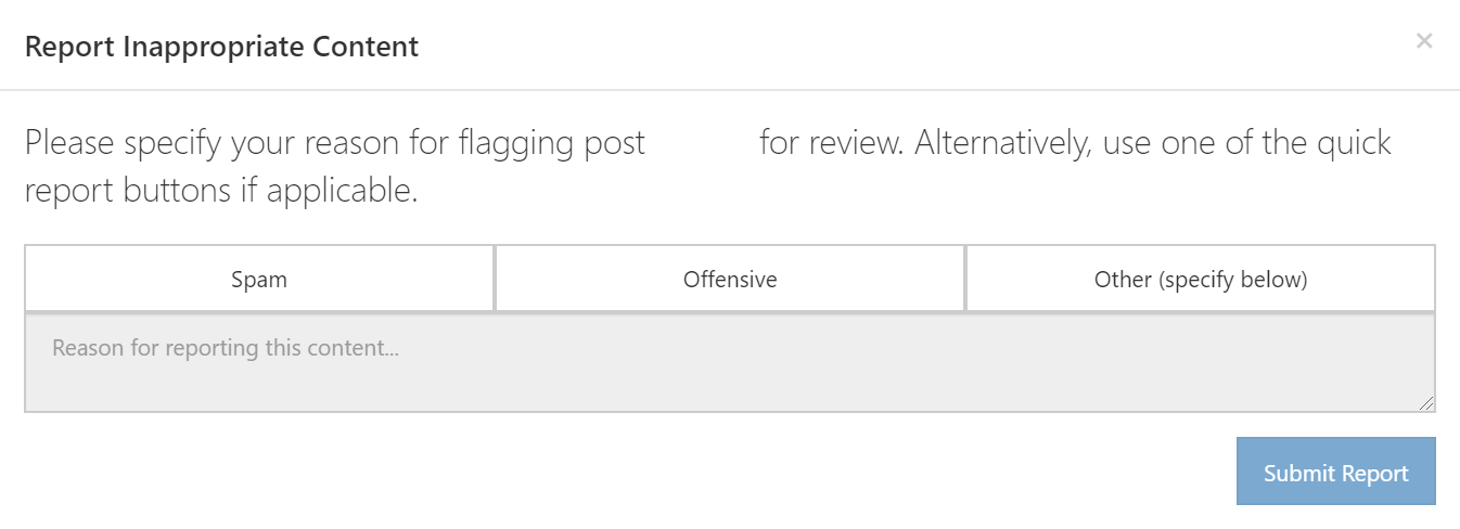 Giving a reason for flagging a post