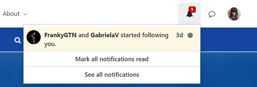 New notifications drop down menu