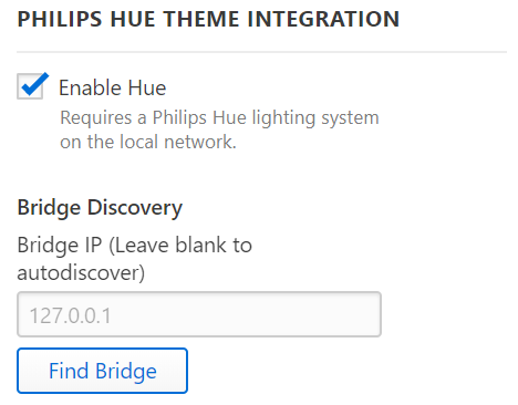 Philips Hue settings