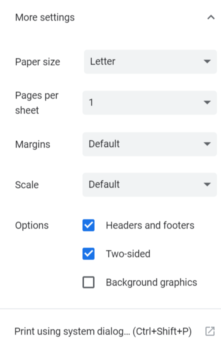 Print preview's advanced settings