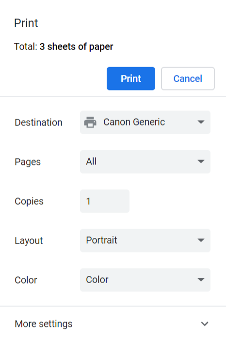 Print preview main settings