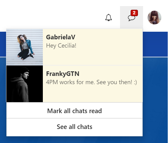 Unread chat message notifications