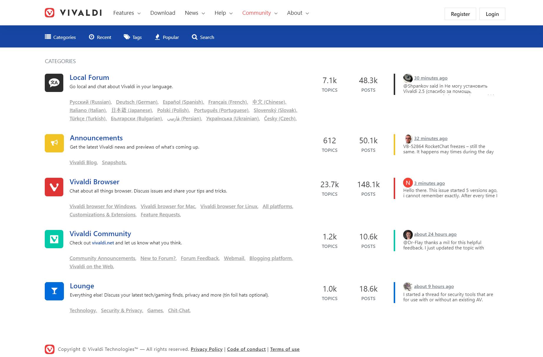 Vivaldi Forum's homepage