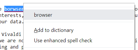 Example of spell check being used